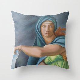 Sibila Delphica. Sistine Chapel. Michael Angelo. Throw Pillow