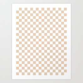 Small Checkered - White and Pastel Brown Art Print