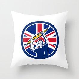British Electrician Union Jack Flag icon Throw Pillow