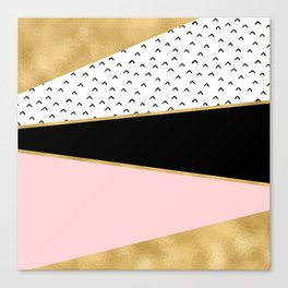 Pink & Gold Geometric Triangle Pattern Canvas Print