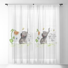 Friends are Loved by All - Baby Elephant Sunflower Butterflies Art by Annette Bailey Sheer Curtain