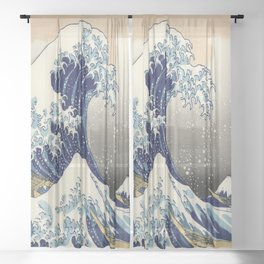 seascape painting japanese ukiyo e art the great wave off kanagawa Sheer Curtain