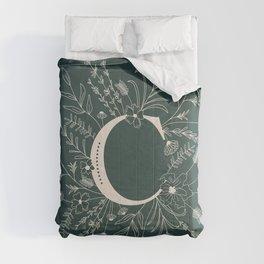 Botanical Letter C (Forest Green) Comforters