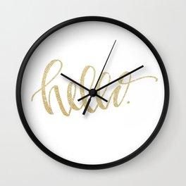 """Hello"" Gold Sparkle Wall Clock"