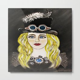 Steampunk Beauty Metal Print