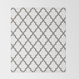 Moroccan Quatrefoil Pattern: Neutral Brown Throw Blanket