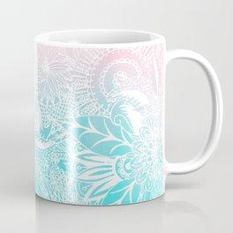 whimsy white floral mandala watercolor design Coffee Mug