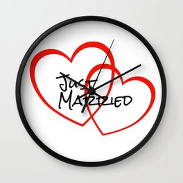 Two Heart Just married Wall Clock