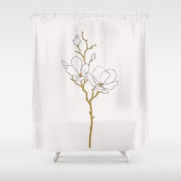 Magnolia botanical illustration - Fran Shower Curtain
