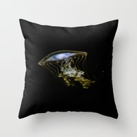jelly fish Throw Pillows featuring Jelly Fish by Petra Heitler