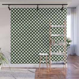 Large White Dots on Dark Forest Green Wall Mural