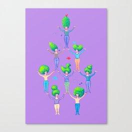 Topiary Ladies on Purple Canvas Print