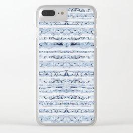 Boho Stripes Indigo Blue Clear iPhone Case