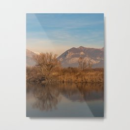 Tree in the foreground and mountains in the background are reflected in the river water Metal Print
