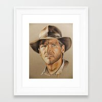 indiana jones Framed Art Prints featuring Indiana Jones by Ashley Anderson