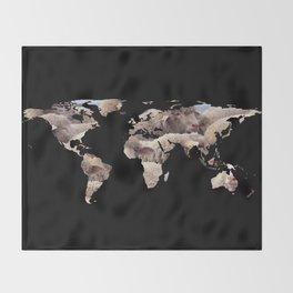 World Map Silhouette - Sheep Herd Throw Blanket