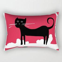 Black cat in the white woods Rectangular Pillow