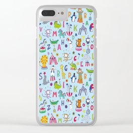 Circus Animal Alphabet - multi on pale blue Clear iPhone Case