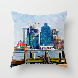 Baltimore Skyline, Locust Point, Maryland, Charm City, Inner Harbor, Wall art, Baltimore Cityscape, Throw Pillow