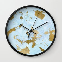 Pale Blue Gold Marble Wall Clock
