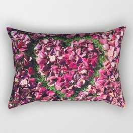 Heart of Love | Red and Pink Fall Leaves Hand Drawn Heart Shape Design Rectangular Pillow