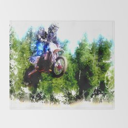"""Dare to Fly"" Motocross Racer Throw Blanket"