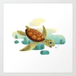 Funny Sea Turtle Art Print