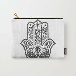 Black and White Mosaic Hamsa Carry-All Pouch