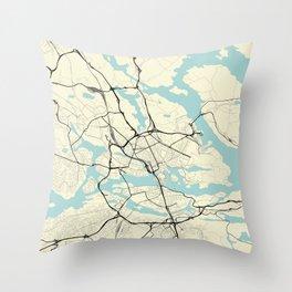 Stockholm Sweden City Map Throw Pillow