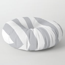 Metallic silver grey - solid color - white vertical lines pattern Floor Pillow