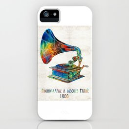 Colorful Phonograph Art by Sharon Cummings iPhone Case