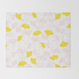 Pink Gingko Leaves, Yellow Gingko Leaves, Gingko Pattern Throw Blanket