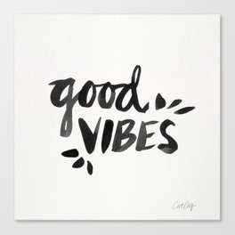 Good Vibes – Black Ink Canvas Print