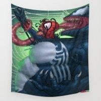 venom Wall Tapestries featuring Venom and Spider-man by Brian Hollins art