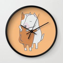 Bull Terrier Hugs Wall Clock
