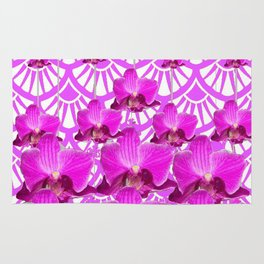 PURPLE ART DECO PATTERN ORCHIDS PATTERN ABSTRACT Rug
