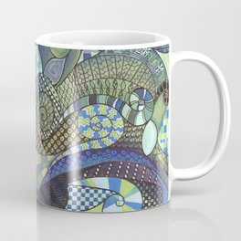 "Moo's Mom's Abstract art ""Blue Zen"" Coffee Mug"