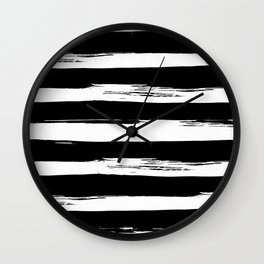 Paint Stripes Black and White Wall Clock