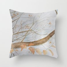 Watercolor under the trees Throw Pillow