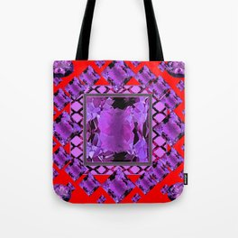 RED PURPLE AMETHYST FEBRUARY GEM BIRTHSTONE MODERN ART Tote Bag