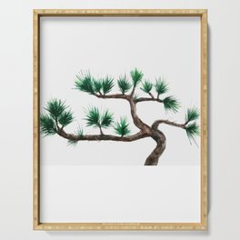 green pine tree painting Serving Tray