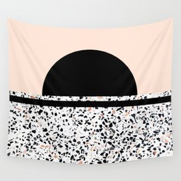 Terrazzo Stone Pattern Black and Orange Peach Wall Tapestry