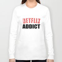 netflix Long Sleeve T-shirts featuring Netflix Addict by Poppo Inc.