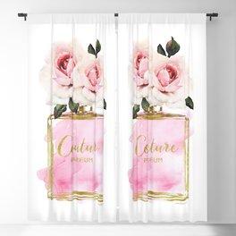 Perfume, Pink, Gold, Fashion, illustration, Roses, Amanda Greenwood, watercolor, wall art, make up, Blackout Curtain
