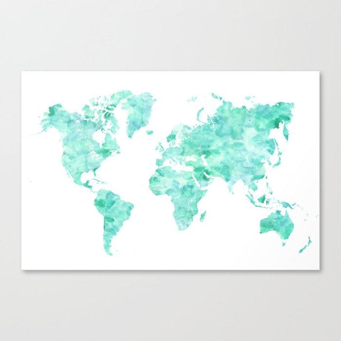 Teal aquamarine watercolor world map canvas print by blursbyaishop teal aquamarine watercolor world map canvas print gumiabroncs Gallery