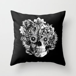 Floral Ohm skull from hand and digital illustration.  Throw Pillow