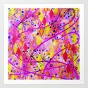 INTO THE FALL 2 - Whimsical Pink Purple Autumn Floral Watercolor Abstract Nature Pattern Fine Art  by ebiemporium