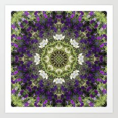 Icy White and Rich Violet Petunias Kaleidoscope Art Print