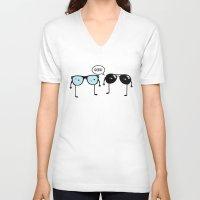 geek V-neck T-shirts featuring GEEK by darko888