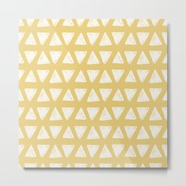 Mustard yellow white hand painted geometrical triangles Metal Print